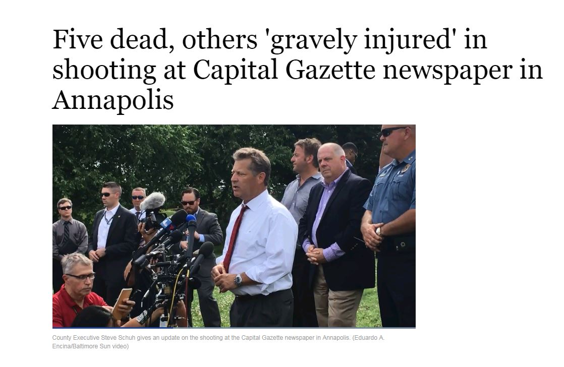 Five dead, others 'gravely injured' in shooting at Capital Gazette newspaper in Annapolis